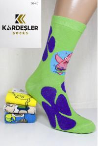 Стрейчевые компьютерные мужские носки KARDESLER высокие Арт.: 1307-12 / Спанч Боб + Патрик / Упаковка 12 пар /