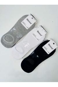 Мужские следы на силиконовой пятке ФЕННА ультракороткие Арт.: GH-A017 / Серый. Белый. Черный /Упаковка 12 пар /