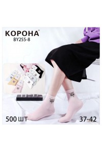 Стрейчевые женские носки КОРОНА средней высоты Арт.: BY-255-8 / Кот /