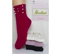 Стрейчевые детские носки с бусами Inaltun средней длины Арт: 5203 / Упаковка 12 пар /