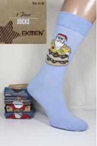 Стрейчевые мужские новогодние носки Ekmen высокие Арт.: 5057-1 / Упаковка 12 пар /