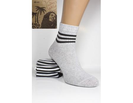 Стрейчевые мужские носки Be HAPPY and SMILE средней высоты Арт.: 33230-37-4 / Полоска /