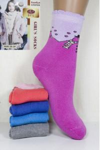 Махровые детские носки на бордюрной резинке BFL Girls высокие Арт: C153-32 / Снеговик / Упаковка 12 пар /