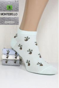Стрейчевые женские носки в сеточку MONTEBELLO Ф3 короткие Арт: 7422KС-1 / Кактусы / Упаковка 12 пар /