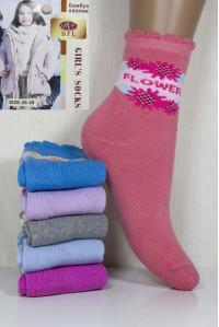 Махровые детские носки на бордюрной резинке BFL Girls высокие Арт: C151-17 / Flower / Упаковка 12 пар /