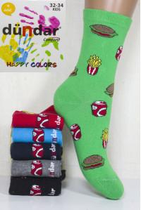 Стрейчевые компьютерные детские носки DUNDAR высокие Арт.: 5817-25 / Макдональдс / Упаковка 12 пар /