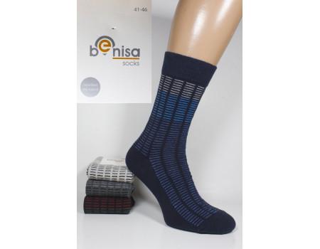 Стрейчевые мужские носки BENISA высокие Арт.: 1075-2 / Мелкая полоска /