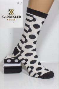 Стрейчевые женские носки KARDESLER высокие Арт.: 1228V-3 / Пузырьки + полоски /