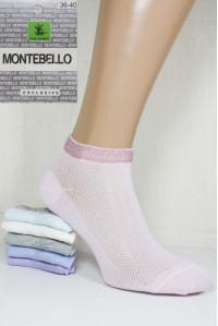 Стрейчевые женские носки в сеточку MONTEBELLO Ф3 короткие Арт: 7422KС-2 / Резика люрекс /