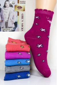 Махровые детские носки на бордюрной резинке BFL Girls высокие Арт: C154-20 / Цветы / Упаковка 12 пар /