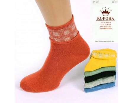 Стрейчевые женские носки КОРОНА средней высоты с люрексовой вставкой Арт.: BY201-3