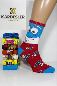 Стрейчевые компьютерные женские носки KARDESLER высокие Арт.: 1307-19 / Смурф + Белка + Тигр + Репер /