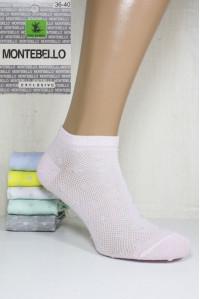 Стрейчевые женские носки в сеточку MONTEBELLO Ф3 короткие Арт: 7422KС-3 / Люрекс горошек /