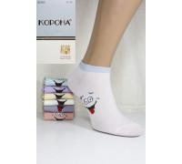 Стрейчевые женские носки КОРОНА укороченные Арт.: B2360 / Резинка люрекс /