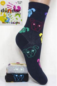 Стрейчевые компьютерные детские носки DUNDAR высокие Арт.: 5817-24 / Собака / Упаковка 12 пар /