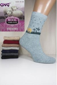 Шерстяные женские носки с ангорой GNG высокие Арт.: 3399 / Упаковка 10 пар /