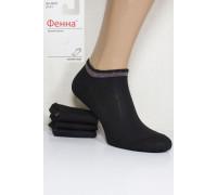 Стрейчевые женские носки на бордюрной резинке с люрексом ФЕННА короткие Арт.: B031-1 / Упаковка 10 пар /
