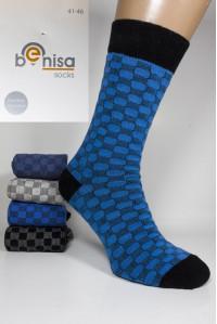 Стрейчевые мужские носки BENISA высокие Арт.: 1075-3 / Шахматы /