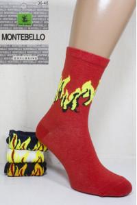 Стрейчевые женские носки MONTEBELLO Ф3 высокие Арт: 7422VD-7 / Языки пламени /