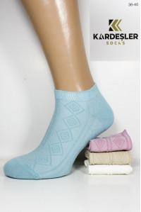 Стрейчевые женские носки узором KARDESLER короткие Арт.: 91421-1 / Ромбы /