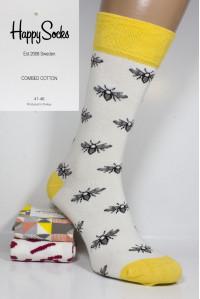 Стрейчевые мужские носки Happy Socks высокие Арт.: 623399-2 / Пчелки /