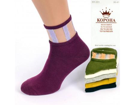 Стрейчевые женские носки КОРОНА средней высоты с люрексом и микросеткой Арт.: BY201-1