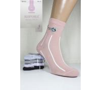 Стрейчевые женские носки КОРОНА средней длины Арт.: BY212-7 / Надпись + Люрекс /