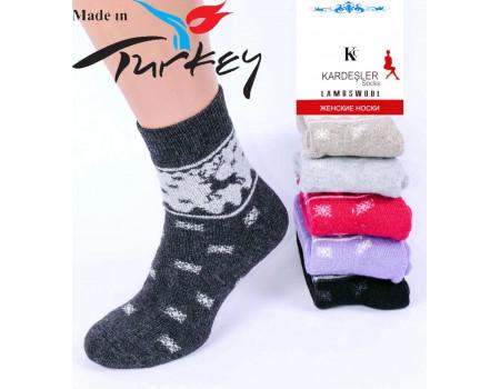 Шерстяные махровые женские носки KARDESLER высокие Арт.: 09-XX / Упаковка 12 пар /