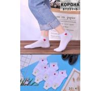 Стрейчевые женские носки в сеточку КОРОНА короткие Арт.: BY231-5 / Сердце /
