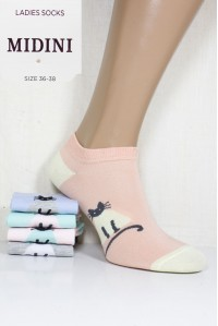 Стрейчевые женские носки MIDINI Socks короткие Арт.: 81026 / Котик / Упаковка 20 пар /