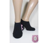 Женские махровые носки травка с тормозами РОЗА ультракороткие Арт.: 2670 / Черный / Упаковка 12 пар /