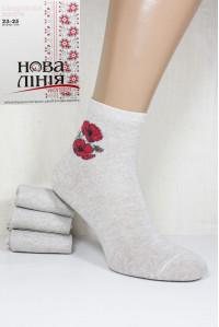 Стрейчевые льняные женские носки Нова Линия средней высоты Арт.: 220/С / Маки / Упаковка 12 пар /