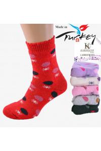 Шерстяные махровые женские носки на бордюрной резинке KARDESLER высокие Арт.: 80-XX / Упаковка 12 пар /
