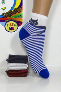 Стрейчевые детские носки NECO Touch Me средней высоты Арт.: 0710-1 / Кот + Полоска /