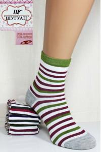 Стрейчевые женские носки в полоску ШУГУАН средней высоты Арт.: B2653-6