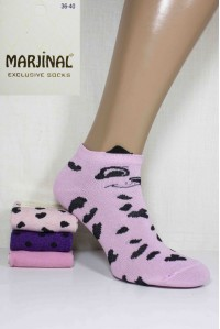 Хлопковые женские носки 3D ушки MARJINAL короткие Арт.: 3756-1 / Упаковка 12 пар /