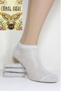 Стрейчевые льняные женские носки в сеточку СТИЛЬ ЛЮКС короткие Арт.: 215C / Упаковка 12 пар /