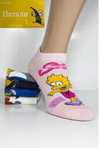 Стрейчевые женские носки Натали короткие Арт.: BY705-1 / Упаковка 10 пар / Симпсоны /