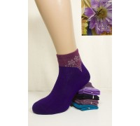 Махровые женские носки со стразами ПОЛЕТ средней длины Арт.: 2038 / Упаковка 12 пар /