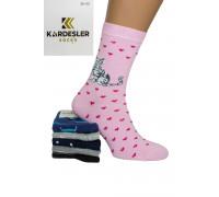 Стрейчевые женские носки KARDESLER высокие Арт.: 1228V-2 / Кошки /
