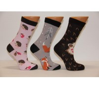 Стрейчевые компьютерные женские носки MONTEBELLO высокие Арт: 7422VD-1 /Зверюшки/ Упаковка 12 пар /