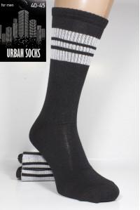 Стрейчевые мужские носки для тенниса URBAN Socks высокие Арт.: 984 / Черный с полоской /