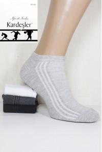 Стрейчевые спортивные мужские носки в сеточку KARDESLER укороченные Арт.: 1303-6 / Полоска / Упаковка 12 пар /