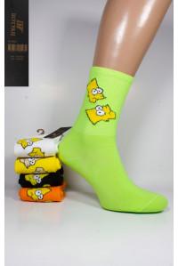 Стрейчевые женские носки ШУГУАН высокие Арт.: B2635-E4 / Барт Симпсон /