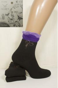 Махровые бамбуковые женские носки со стразами ПОЛЕТ высокие Арт.: 226 / Упаковка 12 пар /