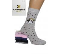 Стрейчевые женские носки KARDESLER высокие Арт.: 1228V-1 / Собаки /