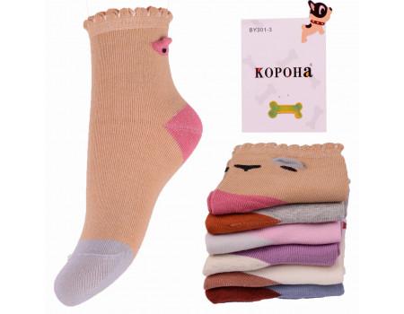 Стрейчевые детские носки 3D КОРОНА на бордюрной резинке средней высоты Арт.: BY301-1