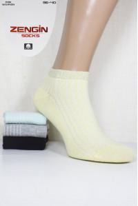 Стрейчевые женские носки в рубчик с люрексовой резинкой ZENGIN Socks короткие Арт.: 3254-60 / Упаковка 12 пар /