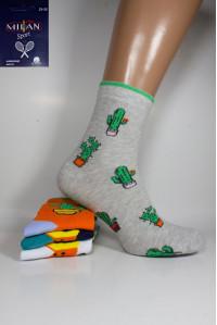 Стрейчевые женские носки MILAN высокие Арт.: 4436-1 / Кактусы /