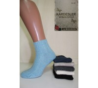 Шерстяные женские носки в рубчик на компрессионной резинке KARDESLER средней высоты Арт.: 0262 / Упаковка 12 пар /